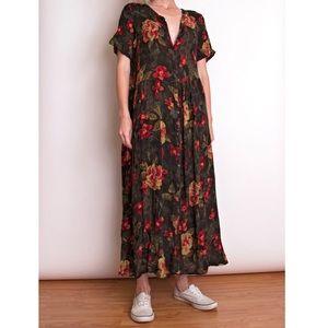Vintage 80s garden floral rose print tent dress